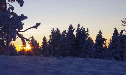 FINLANDIA / Laponia / Akasjampolo / Słońce już bardzo jest nisko