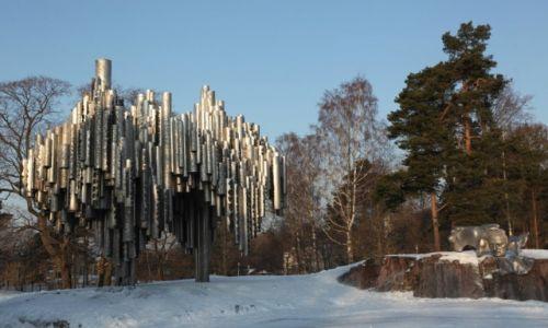 FINLANDIA / Uusimaa / Helsinki / Pomnik Sibeliusa