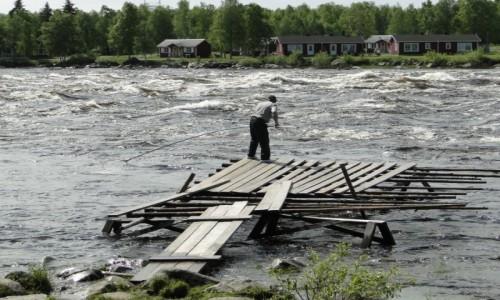 Zdjęcie FINLANDIA / Fińska Laponia / Tornio, granica ze Szwecją / Łowiący ryby na Bystrzycy (Bystrzyna) na rzece Kemijoki
