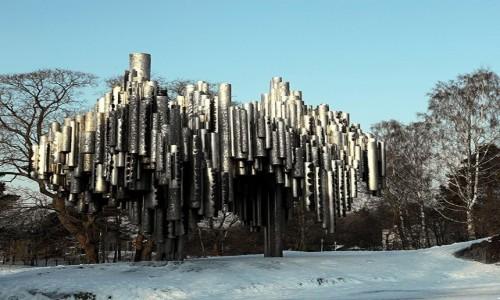 FINLANDIA / Helsinki / Park w Toolo / Organy, pomnik Jeana Sibeliusa