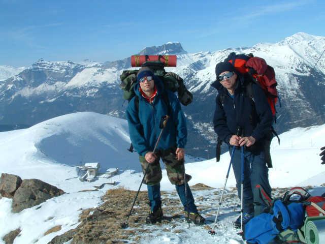 Zdj�cia: masyw M. Blanc, Tomek i ja na trasie TMB powy�ej obserwatorium, FRANCJA
