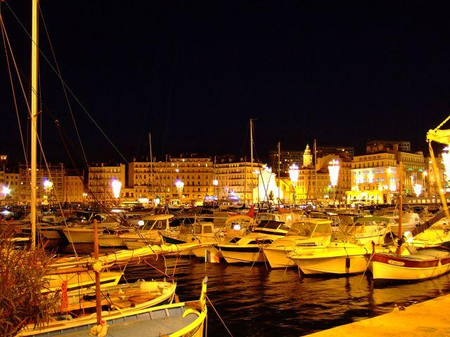 Zdj�cia: Marsylia, prowansja, stary port noc�, FRANCJA