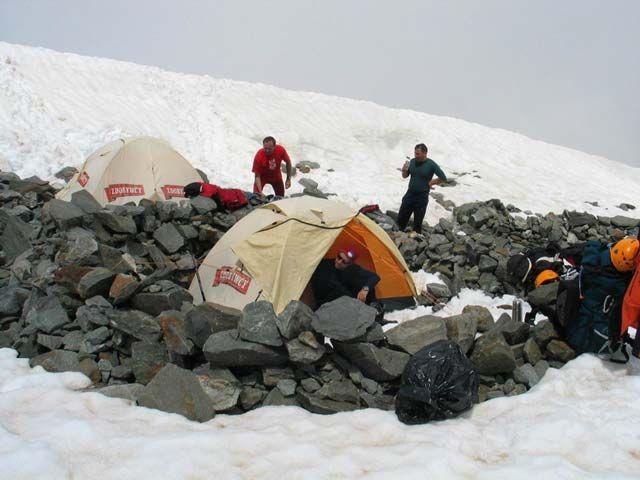 Zdj�cia: Lodowiec Tete Rousse, Masyw Mont Blanc, �ycie obozowe, FRANCJA