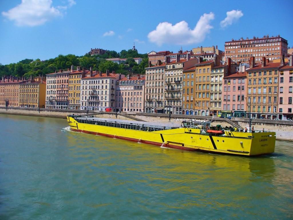 Zdjęcia: Lyon, Rhone, Lyon, barka na Saonie, FRANCJA