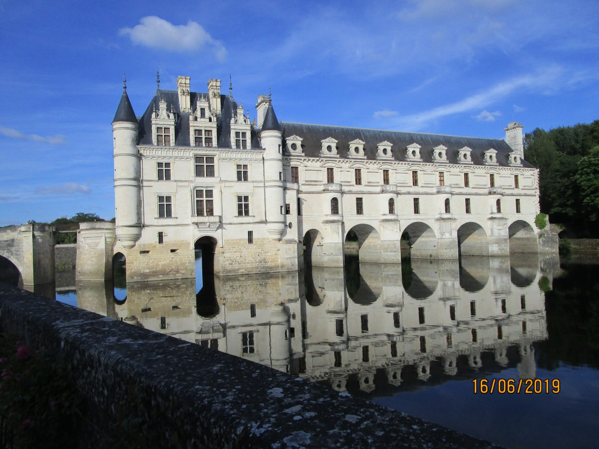 Zdjęcia: Chenanceau, Zamki nad Loarą, Pałac, odbicie lustrzane, FRANCJA