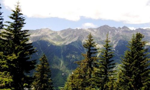 FRANCJA / Chamonix / Alpy / Widok z kolejki na lodowiec