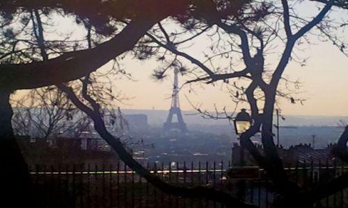 Zdjecie FRANCJA / - / Paryż / Wieża Eiffla widoczna ze wzgórza Montmartre