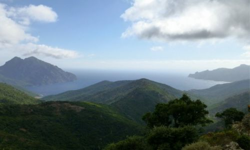 Zdjecie FRANCJA / Korsyka / zachodnie wybrzeże Korsyki / widok z przełęczy na zatokę