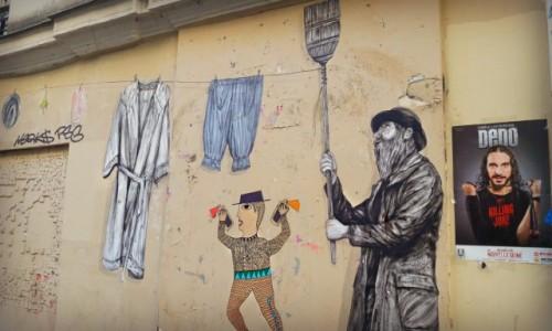 Zdjecie FRANCJA / - / Paryż / Pranie na ścianie