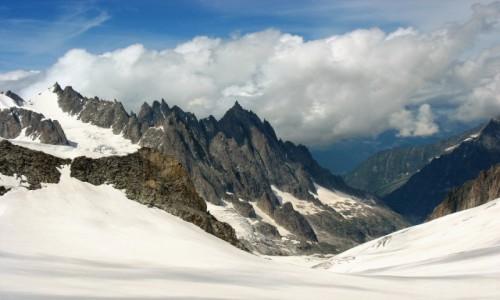 Zdjecie FRANCJA / Alpy / Widok ze środkowej części kolejki na Mont Blanc / Urok Alp