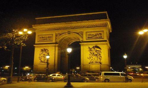 Zdjecie FRANCJA / brak / Paryż / Łuk triunfalny nocą