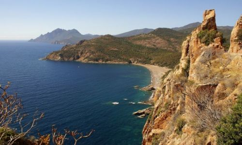 Zdjęcie FRANCJA / Korsyka / wybrzeże zachodnie / Droga nad urwiskiem