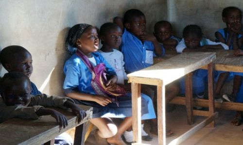 Zdjęcie GAMBIA / Barra / gdzieś w drodze z granicy z Senegalem do Barra / Pilna uczennica