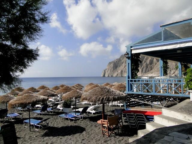 Zdjęcia: Kamari, Santorini, Plaża w Kamari., GRECJA