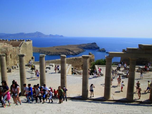 Zdjęcia: Lindos, Rodos, Ruch na Akropolu , GRECJA