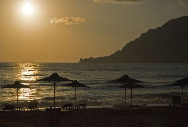 Zdjęcia: rejon Rethymno, Kreta, zachód słońca nad morzem..., GRECJA