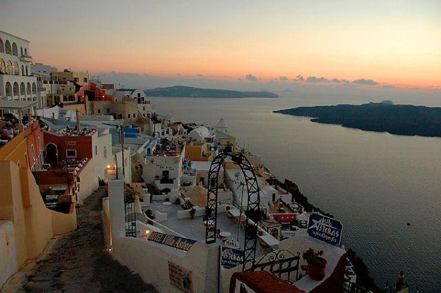 Zdjęcia: Cyklady, Santorini (Thira), Thira, Cyklady, Santorini (Thira), Thira o zachodzie, GRECJA
