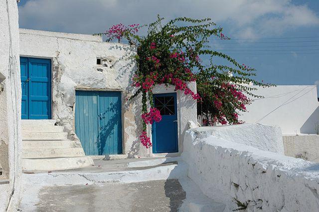 Zdjęcia: Santorini, Cyklady, kolorowe zaułki, GRECJA