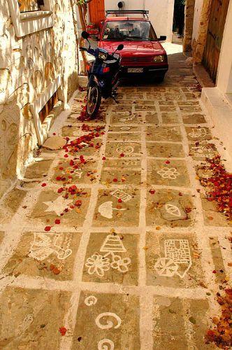 Zdjęcia: Naxos, Cyklady, wesoły chodnik, GRECJA