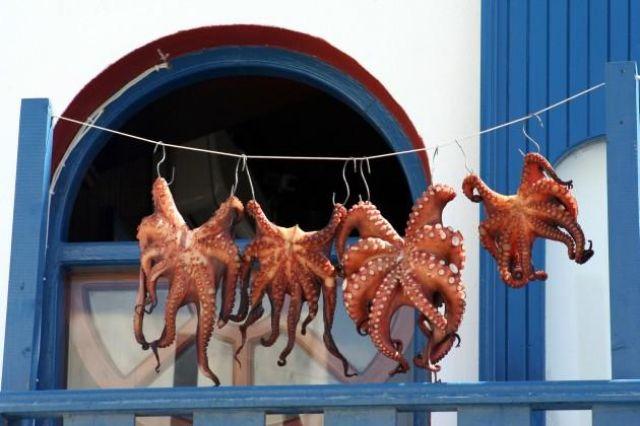 Zdjęcia: Fira, Cyklady, Santorini, Pranie :-), GRECJA