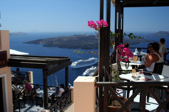 Zdjęcia: Fira, Cyklady, Santorini, Kafejka z widokiem 2, GRECJA