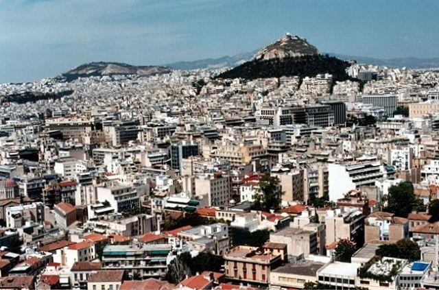 Zdjęcia: Akropol, ATENY, Widok z Akropolu na wzgórze Lykavittos., GRECJA