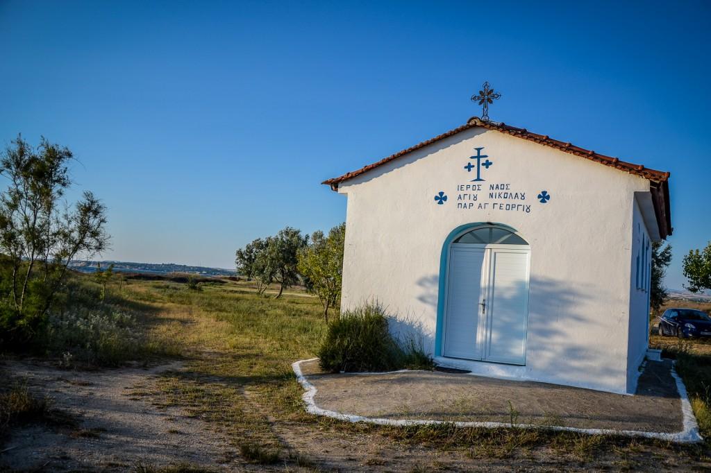 Zdjęcia: Epanomi, Saloniki, kościółek przy plaży, GRECJA