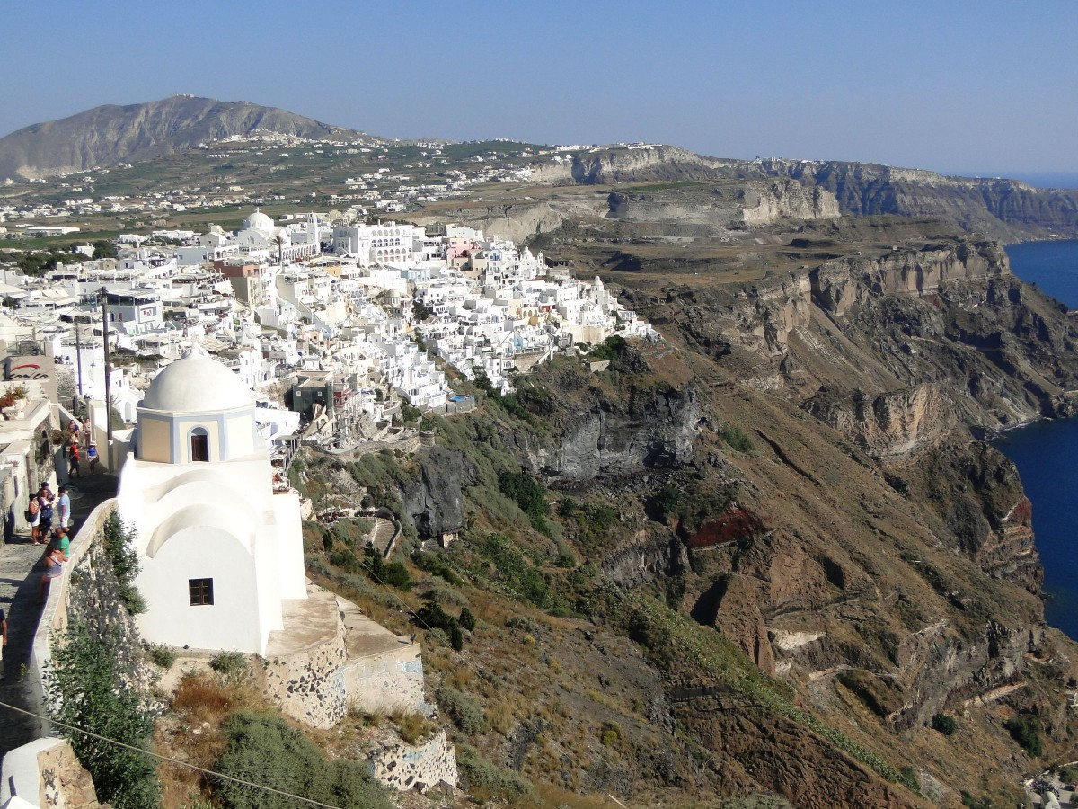 Zdjęcia: Fira, Santorini, Rzut oka na Firę., GRECJA