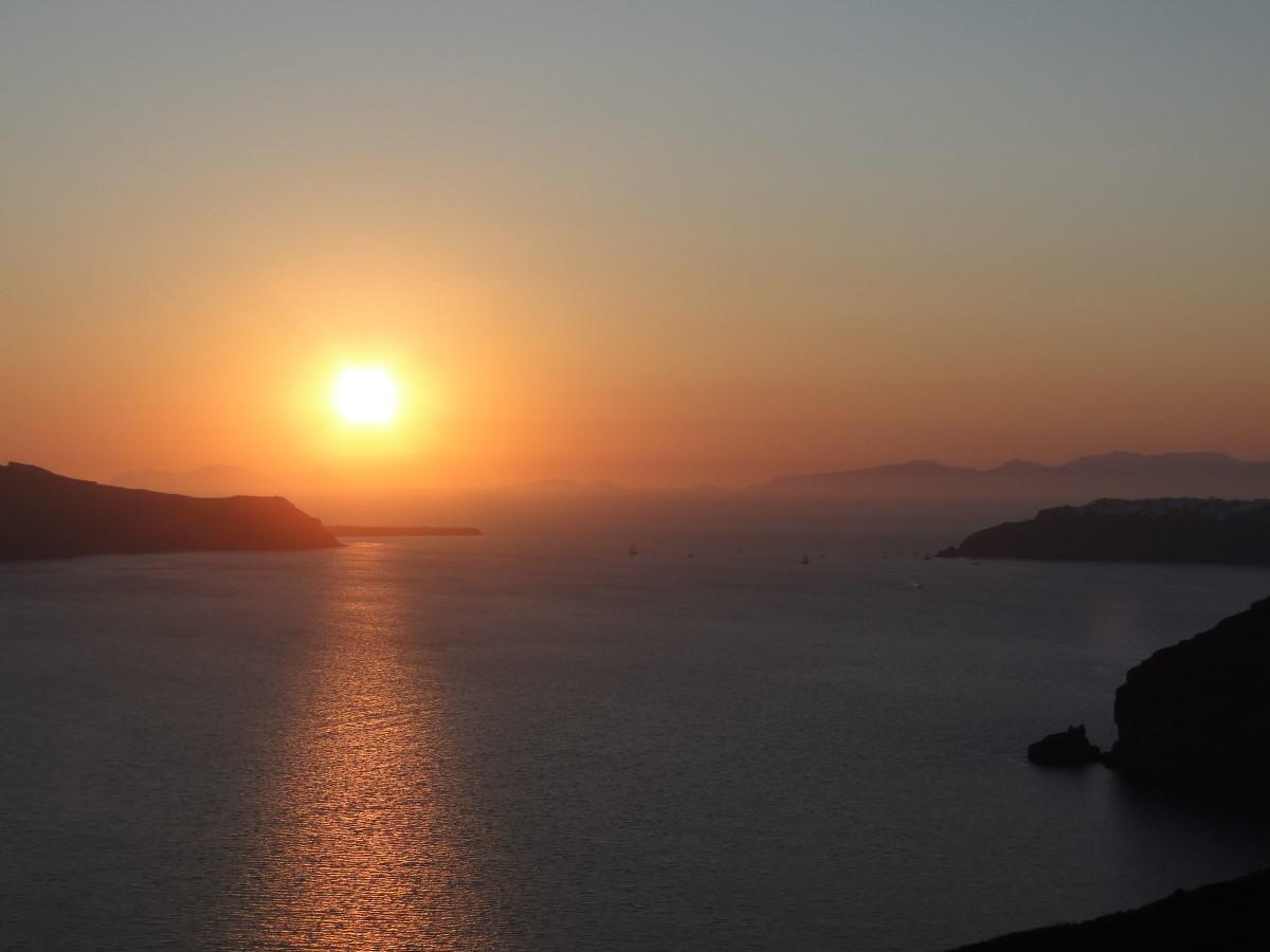Zdjęcia: Fira, Santorini, Zachód słońca nad kalderą., GRECJA