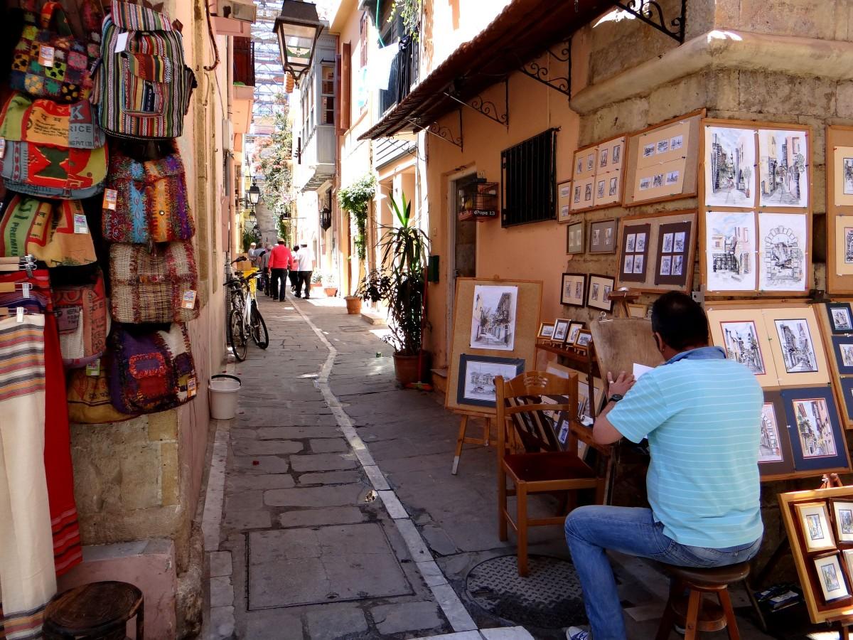 Zdjęcia: Rethymnon, Kreta, W uliczce starego Rethymnonu., GRECJA