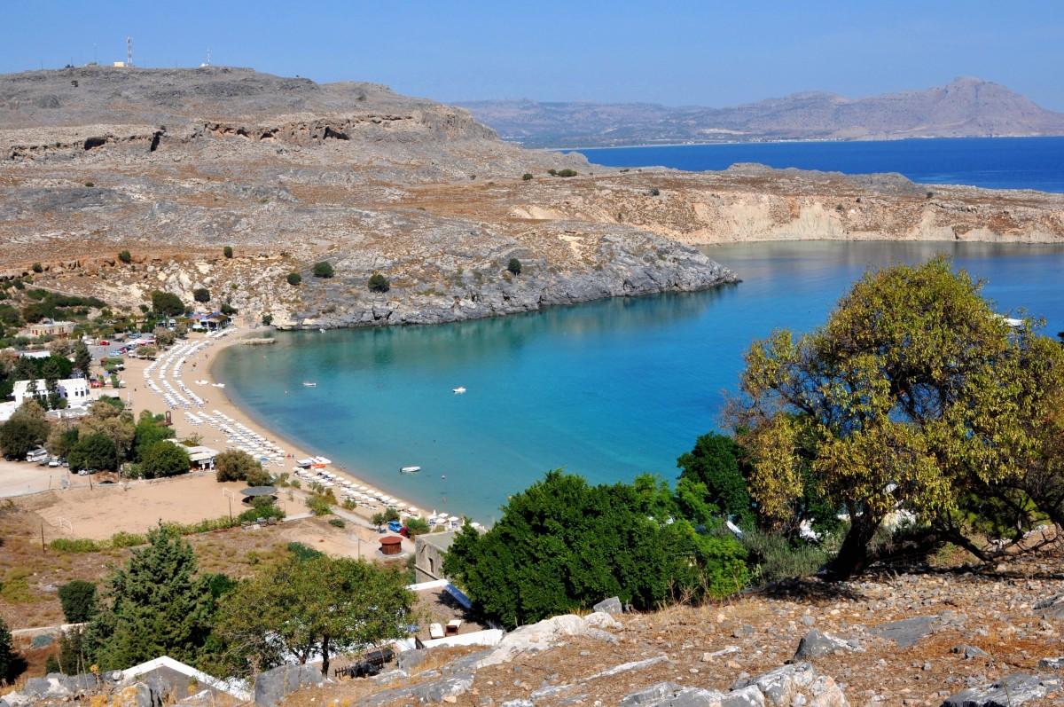 Zdjęcia: Lindos, Rodos, Widok z Akropolu, GRECJA