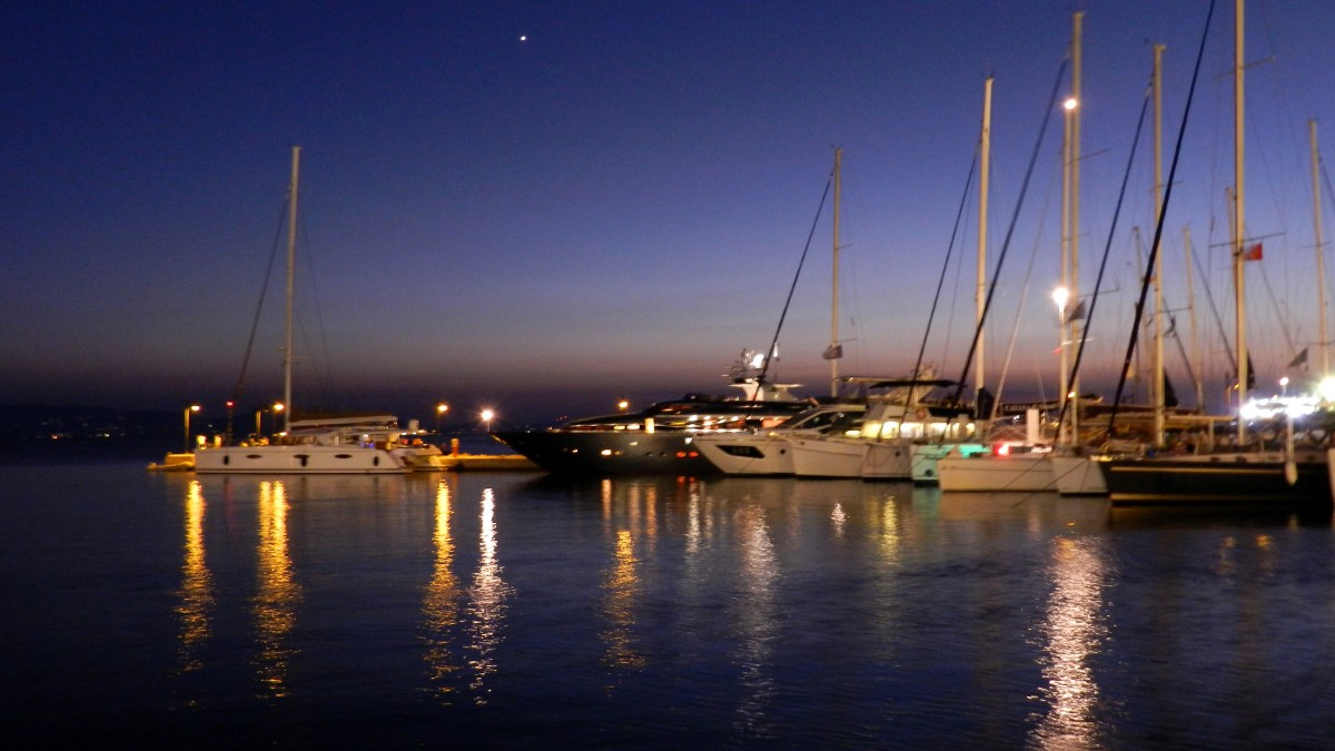 Zdjęcia: Naksos, Cyklady, Port nocną porą, GRECJA
