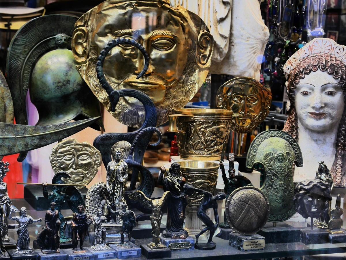 Zdjęcia: przed sklepem, To było w Delfach, Wystawa sklepowa, GRECJA