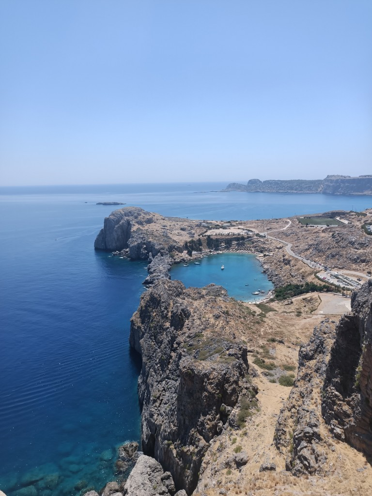 Zdjęcia: Zatoka widziana z Akropolu w Lindos, Rodos- Lindos, Zatoka, GRECJA