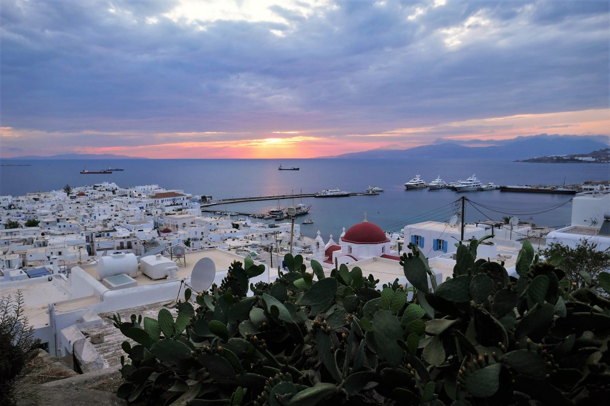 Zdjęcia: Chora, Mykonos, Cyklady, Zachód słońca  nad Mykonos, GRECJA