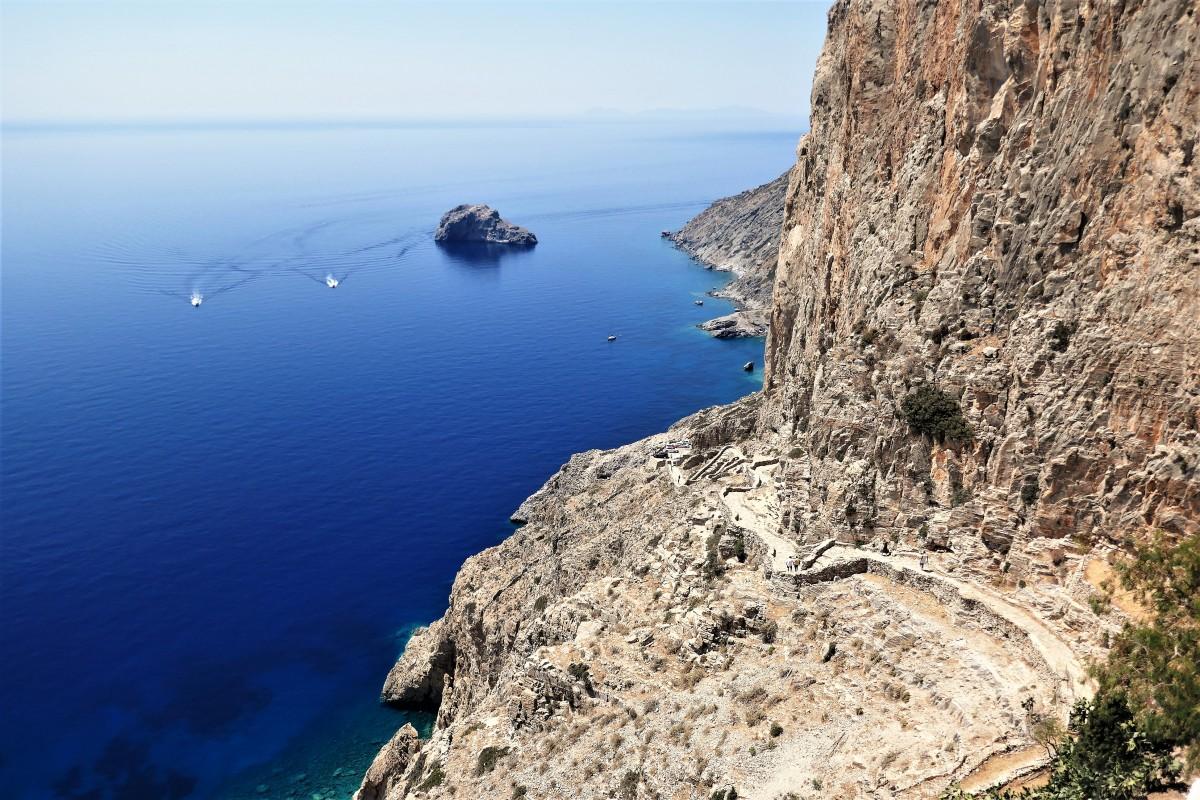 Zdjęcia: Wyspa Amorgos, Cyklady, Wielki Błękit i droga do klasztoru Hozoviotissa, GRECJA