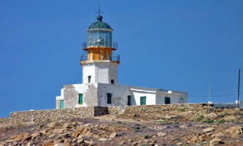 Zdjęcie GRECJA / Cyklady / Mikonos / Stara latarnia nad zatoką