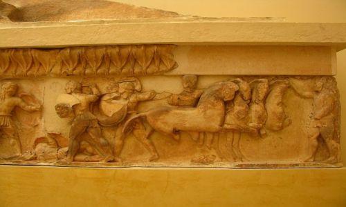 GRECJA / Fokida / Delfy muzeum archeologiczne / fragment fryzu Wojna Trojańska