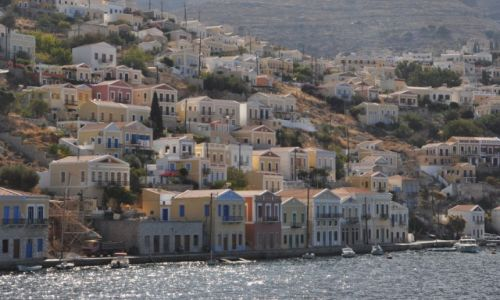 Zdjęcie GRECJA / Morze Egejskie / Wyspa Symi / Widok na miasteczko
