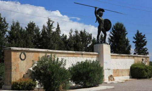 Zdjęcie GRECJA / Fthiotida / Naprzeciwko wąwozu Termopile / Pomnik króla Sparty Leonidasa i jego żołnierzy