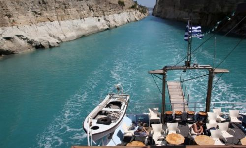 Zdjęcie GRECJA / Peloponez / Korynt / Kanał z poziomu wody