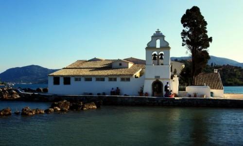 Zdjęcie GRECJA / Korfu / Zatoka Kanoni / Klasztor Vlacherna