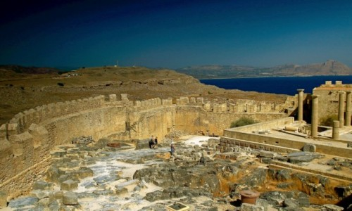 GRECJA / Rodos / Lindos /  Ruiny staro�ytnego akropolu,