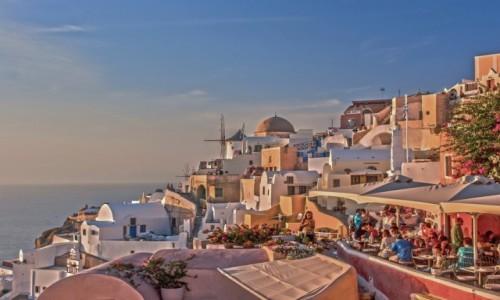Zdjecie GRECJA / Santorini / Oia / Pastele o zachodzie