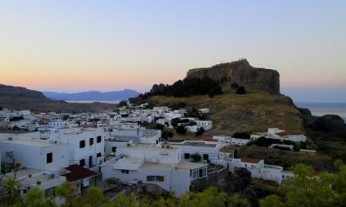 Zdjecie GRECJA / Rodos / Lindos / Lindos po zachodzie słońca