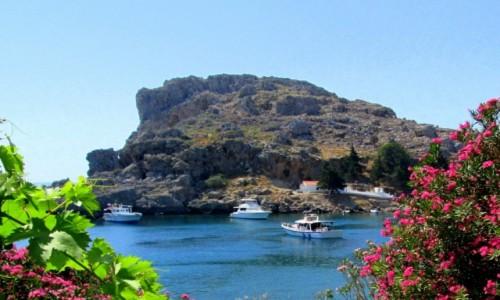 GRECJA / Rodos / Lindos / Zatoka św. Pawła z dołu