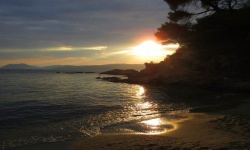 Zdjęcie GRECJA / Skiathos / Banana Beach / Zachód słońca