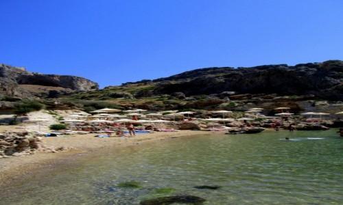 GRECJA / Rodos / Lindos / Plaża pod Akropolem