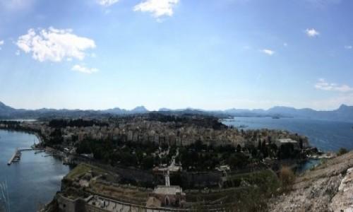 GRECJA / Korfu / Korfu - miasto / Panorama Korfu ze szczytu Pantokrator