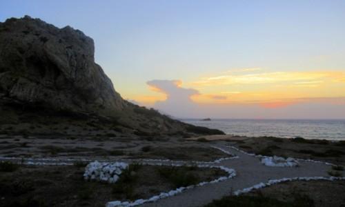 GRECJA / Karpathos / Arkasa / Zakamuflowany zachód słońca